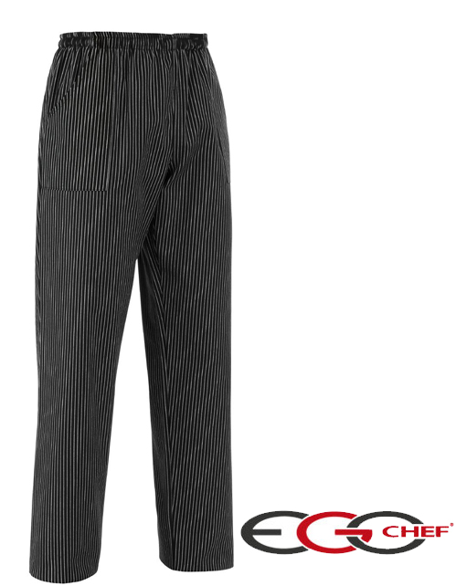Pantalone cuoco Sir Ego Chef gessato bianco su fondo nero.