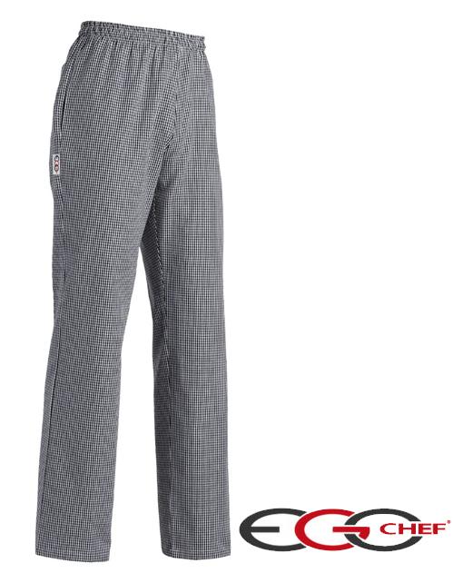 Pantalone cuoco modello Usa della Ego Chef. A scacchi sale e pepe, tessuto cotone gr 150