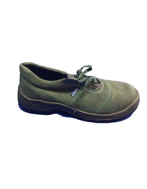 Scarpa antinfortunistica Blue Tech colore verde, modello basso scamosciato con soletta removibile e forata per la traspirazione. Calzatura a n EN345, protezione S1P. Ultime taglie disponibili.